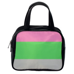 Grey Green Pink Classic Handbags (one Side) by Jojostore