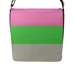 Grey Green Pink Flap Messenger Bag (l)  by Jojostore