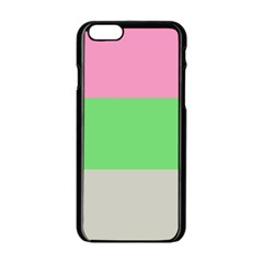 Grey Green Pink Apple Iphone 6/6s Black Enamel Case by Jojostore