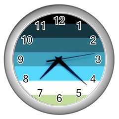 Line Color Black Green Blue White Wall Clocks (silver)  by Jojostore