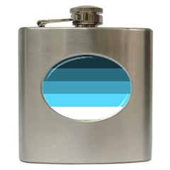 Line Color Black Green Blue White Hip Flask (6 Oz) by Jojostore