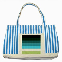 Line Color Black Green Blue White Striped Blue Tote Bag by Jojostore