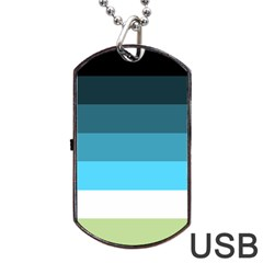 Line Color Black Green Blue White Dog Tag Usb Flash (one Side) by Jojostore