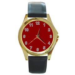 Plain Blue Red Round Gold Metal Watch by Jojostore