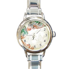 Flower Floral Tree Leaf Round Italian Charm Watch