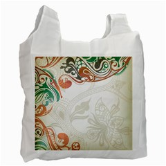 Flower Floral Tree Leaf Recycle Bag (one Side)
