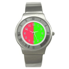 Neon Red Green Stainless Steel Watch by Jojostore