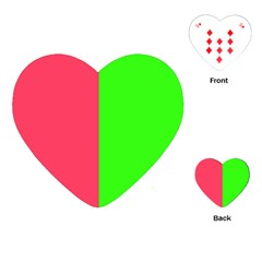 Neon Red Green Playing Cards (heart)  by Jojostore
