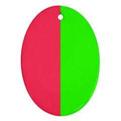Neon Red Green Oval Ornament (two Sides)