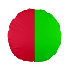 Neon Red Green Standard 15  Premium Round Cushions by Jojostore