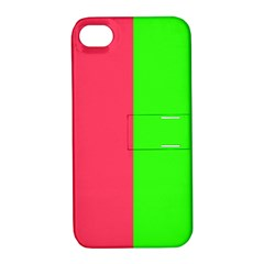Neon Red Green Apple Iphone 4/4s Hardshell Case With Stand by Jojostore