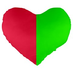 Neon Red Green Large 19  Premium Flano Heart Shape Cushions