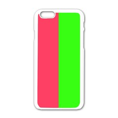 Neon Red Green Apple Iphone 6/6s White Enamel Case