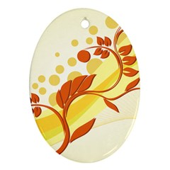 Floral Flower Gold Leaf Orange Circle Ornament (oval) by Jojostore
