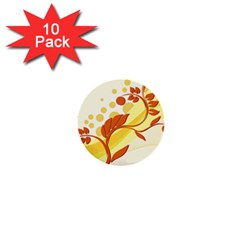 Floral Flower Gold Leaf Orange Circle 1  Mini Buttons (10 Pack)  by Jojostore