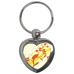 Floral Flower Gold Leaf Orange Circle Key Chains (heart)  by Jojostore