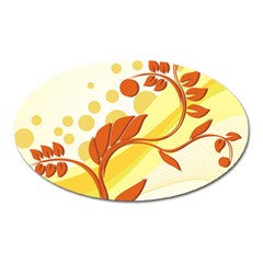Floral Flower Gold Leaf Orange Circle Oval Magnet by Jojostore