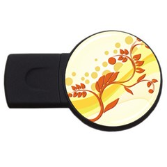 Floral Flower Gold Leaf Orange Circle Usb Flash Drive Round (4 Gb) by Jojostore
