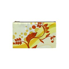 Floral Flower Gold Leaf Orange Circle Cosmetic Bag (small)  by Jojostore