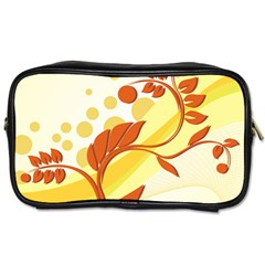 Floral Flower Gold Leaf Orange Circle Toiletries Bags 2 Side by Jojostore