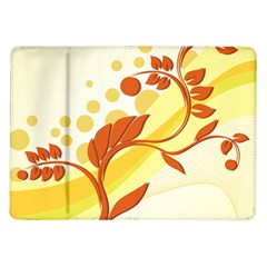 Floral Flower Gold Leaf Orange Circle Samsung Galaxy Tab 10 1  P7500 Flip Case by Jojostore
