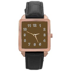 Plain Brown Rose Gold Leather Watch  by Jojostore
