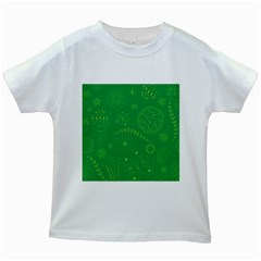 Green Floral Star Butterfly Flower Kids White T Shirts by Jojostore