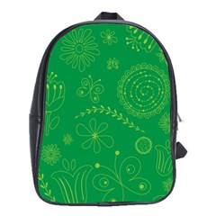 Green Floral Star Butterfly Flower School Bags(large)