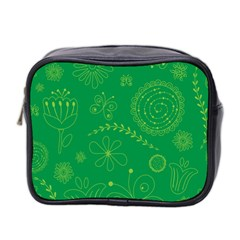 Green Floral Star Butterfly Flower Mini Toiletries Bag 2 Side by Jojostore