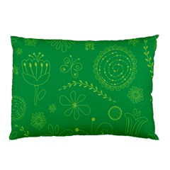 Green Floral Star Butterfly Flower Pillow Case (two Sides) by Jojostore