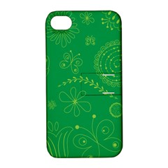 Green Floral Star Butterfly Flower Apple Iphone 4/4s Hardshell Case With Stand by Jojostore