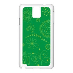 Green Floral Star Butterfly Flower Samsung Galaxy Note 3 N9005 Case (white) by Jojostore