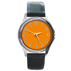Plain Orange Round Metal Watch by Jojostore