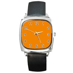 Plain Orange Square Metal Watch by Jojostore