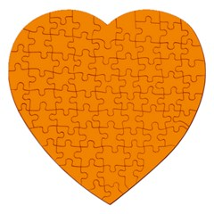 Plain Orange Jigsaw Puzzle (heart) by Jojostore