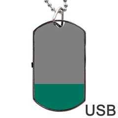 Trolley Grey Green Tropical Dog Tag Usb Flash (two Sides) by Jojostore
