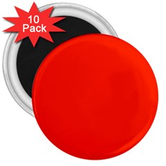 Plain Orange Red 3  Magnets (10 Pack)