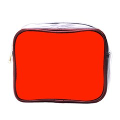 Plain Orange Red Mini Toiletries Bags by Jojostore