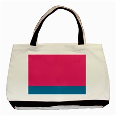 Trolley Pink Blue Tropical Basic Tote Bag (two Sides) by Jojostore