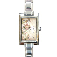 Floral Flower Star Leaf Gold Rectangle Italian Charm Watch by Jojostore