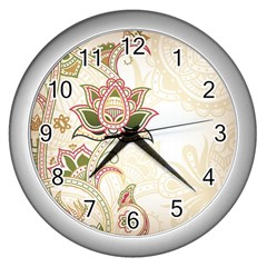 Floral Flower Star Leaf Gold Wall Clocks (silver)
