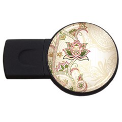 Floral Flower Star Leaf Gold Usb Flash Drive Round (4 Gb)