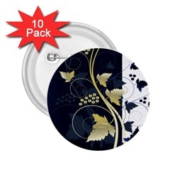 Tree Leaf Flower Circle White Blue 2 25  Buttons (10 Pack)