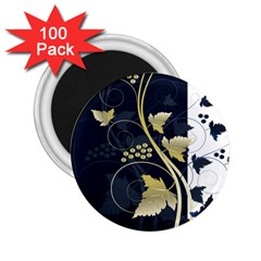Tree Leaf Flower Circle White Blue 2 25  Magnets (100 Pack)  by Jojostore