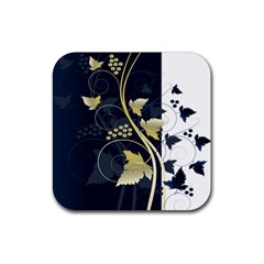 Tree Leaf Flower Circle White Blue Rubber Square Coaster (4 Pack)  by Jojostore