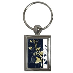 Tree Leaf Flower Circle White Blue Key Chains (rectangle)