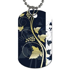 Tree Leaf Flower Circle White Blue Dog Tag (two Sides) by Jojostore