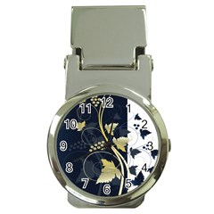 Tree Leaf Flower Circle White Blue Money Clip Watches
