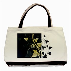 Tree Leaf Flower Circle White Blue Basic Tote Bag by Jojostore