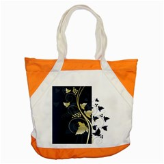 Tree Leaf Flower Circle White Blue Accent Tote Bag by Jojostore